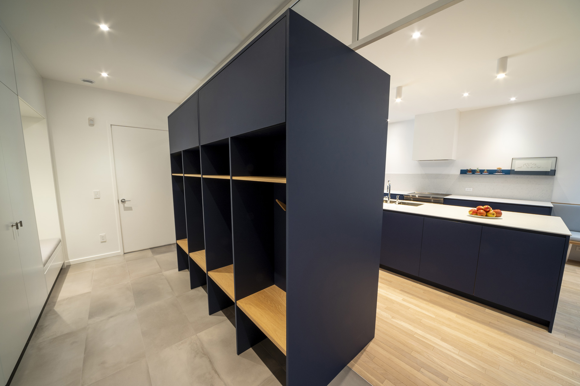 Design and renovation of a large entrance with dark colored boxes for optimized storage