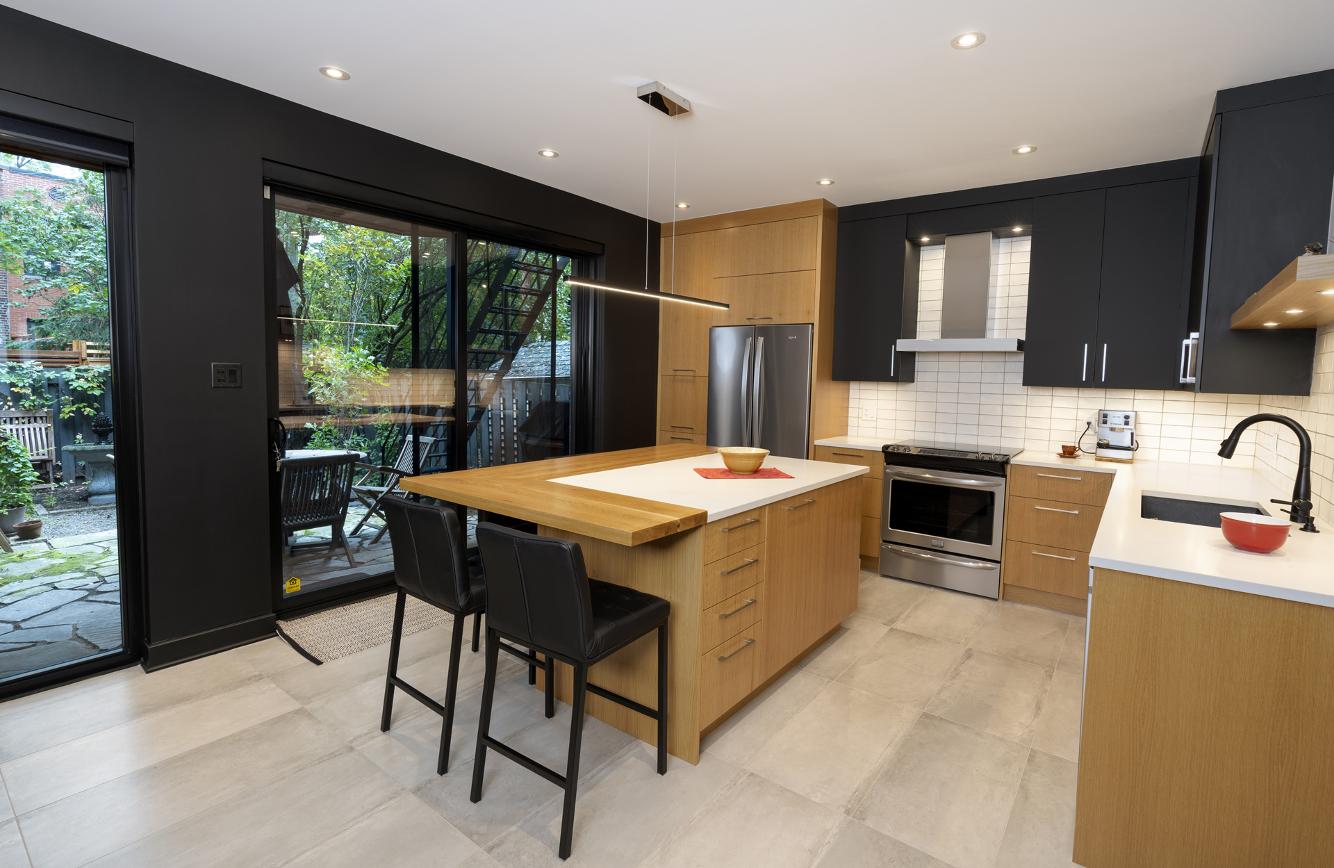 Modern kitchen with renovated breakfast area to improve living space